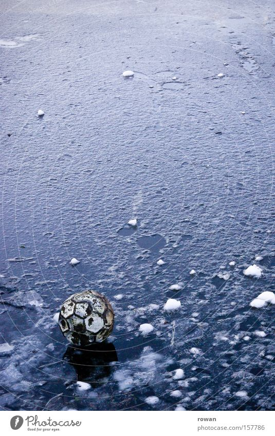 who gets the ball? Ball Foot ball Cold Winter Ice Doomed Old Lake Playing