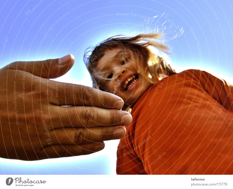 Orange Child Girl Hand Human being Sky