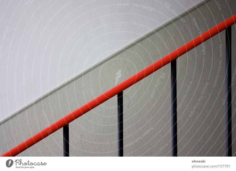 Red Wall (building) Line Stairs Upward Hallway Diagonal Handrail Banister Staircase (Hallway) Hold Graphic Household Rod Minimalistic