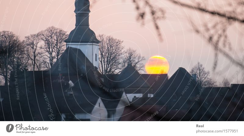 Sunset behind a church Nature Landscape Elements Sky Sunrise Sunlight Autumn Winter Beautiful weather Hill Village Small Town Downtown