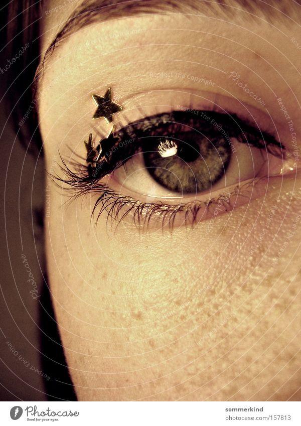 Human being Blue Beautiful Black Face Eyes Dream Gold Skin Star (Symbol) Longing Peace Fairy tale Freckles Eyelash Pallid