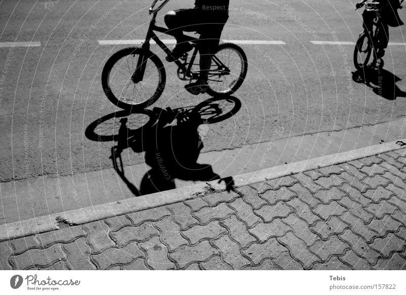 BMX kids Child BMX bike Shadow Black & white photo Street Wave Youth (Young adults) Bicycle