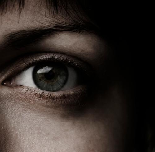 spooky eyeball Dark Reflection Face Cheek Shadow Black Fear Clarity Interior shot Macro (Extreme close-up) Close-up Eyes Hair and hairstyles sombreness