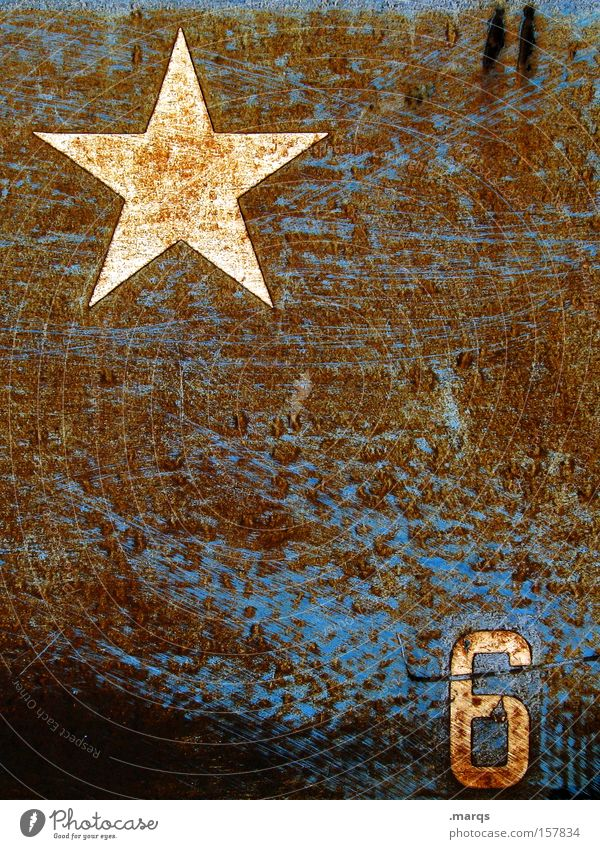 *6 Old Blue Style Metal Brown Signs and labeling Esthetic Exceptional Star (Symbol) Cool (slang) Digits and numbers Derelict Symbols and metaphors Rust
