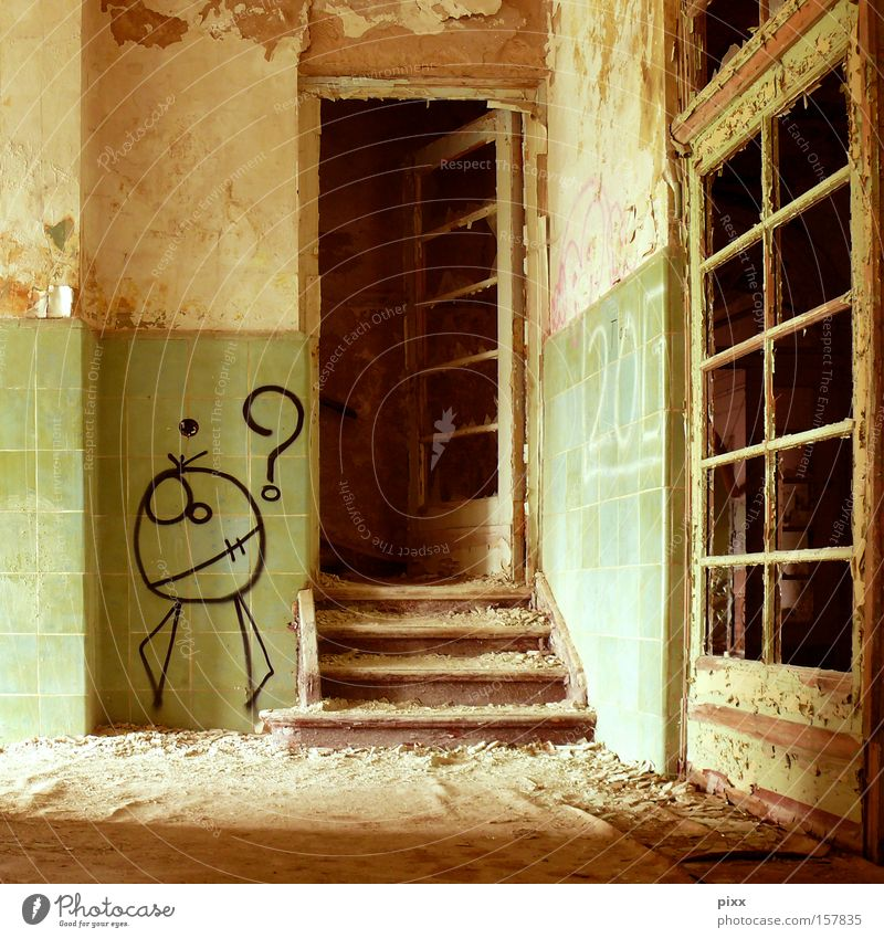 Expectation? Old building Story Hallway Dirty Tagger Redecorate Derelict Location Architecture Fear Panic Door Loneliness Stairs squatter Painter