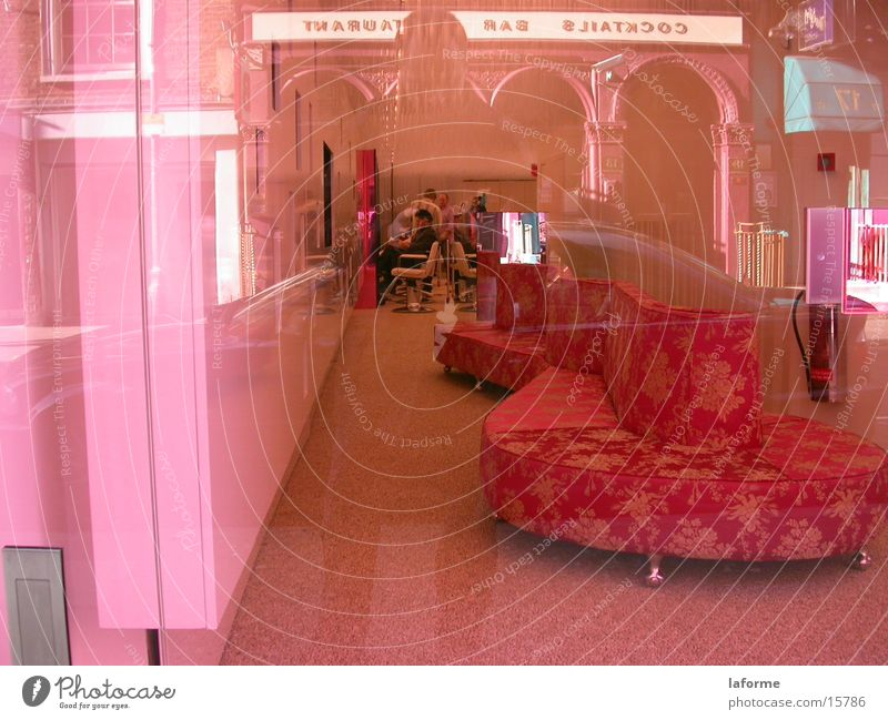 Pink hairdressing salon Sofa Store premises Architecture Window pane
