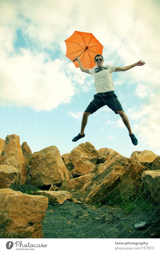 Youth (Young adults) Summer Joy Playing Jump Rock Flying Action Umbrella Sunshade Umbrellas & Shades Parachute Weather protection Nosedive Crash landing