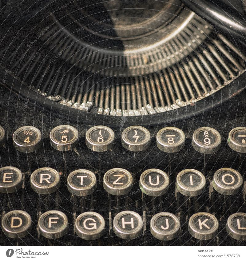 ...till the stroke! Culture Media Print media Sign Characters Old Historic Retro Typewriter Keyboard Assault Vintage Book Poem Literature Writer Colour photo