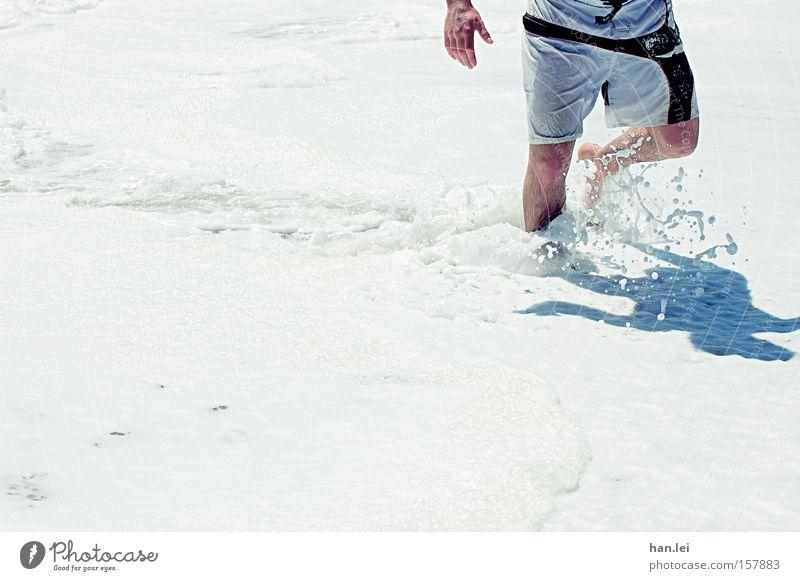 Man Water White Ocean Beach Playing Legs Power Going Swimming & Bathing Wet Walking Force Fitness Pants Foam