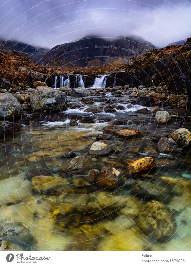 The Fairy Pools Environment Nature Landscape Elements Earth Water Clouds Weather Hill Rock Mountain River bank Fluid Free Fresh Scotland isle Isle of Skye