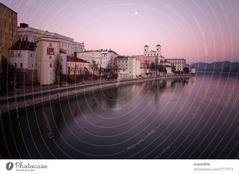Passau III Sunset Inn River Church Tower Reflection River bank Rock Dark Violet Long exposure Peace Beautiful Near and Middle East vignette