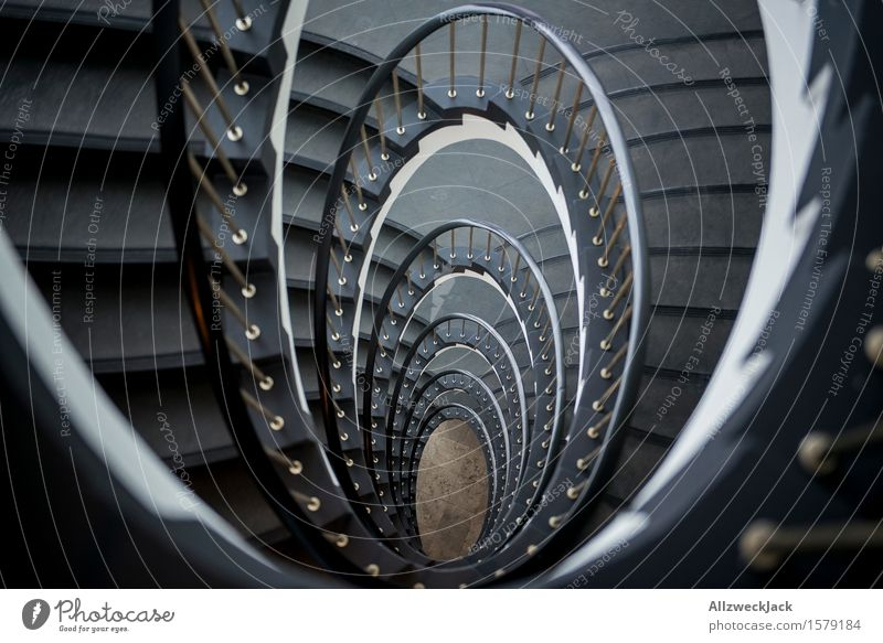 downward spiral II Stairs Esthetic Elegant Gray White Symmetry Staircase (Hallway) Winding staircase Banister Spiral Interior design Colour photo Interior shot