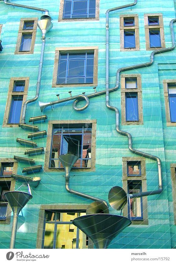The water house Dresden Art Architecture Water Kunsthof Passage Gutter blue