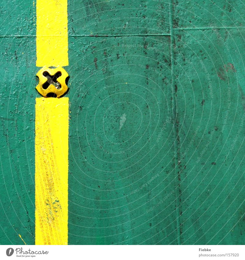 A yellow stripe on a green ground Yellow Green Stripe Metal Metalware Watercraft Rivet Colour Structures and shapes Arrangement Square Border Line