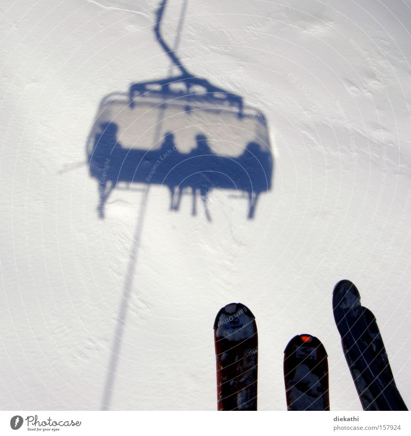Human being White Winter Snow Mountain Air Skiing Skis Austria Winter sports Height Ski lift Chair lift Ski resort Virgin snow