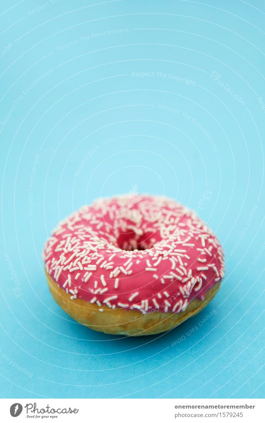 doughnut Art Work of art Esthetic Donut Sweet Candy Sweet shop Candy stand Sugar Delicious Pink Granules Blue Complementary colour Contrast Appetite Baker