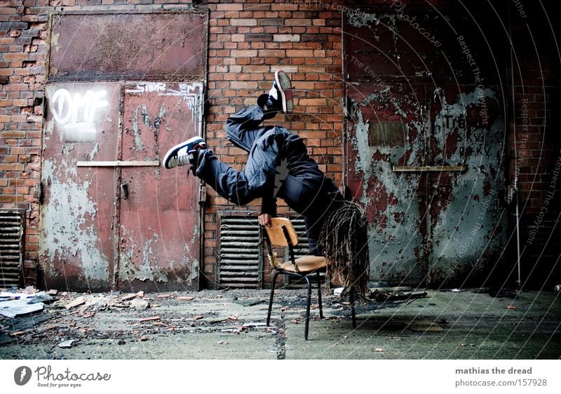 standstill Human being Athletic Gymnastics Power Musculature Contentment Stand Handstand Stagnating Brick Steel tower Dark Style Man Industry Fitness Production