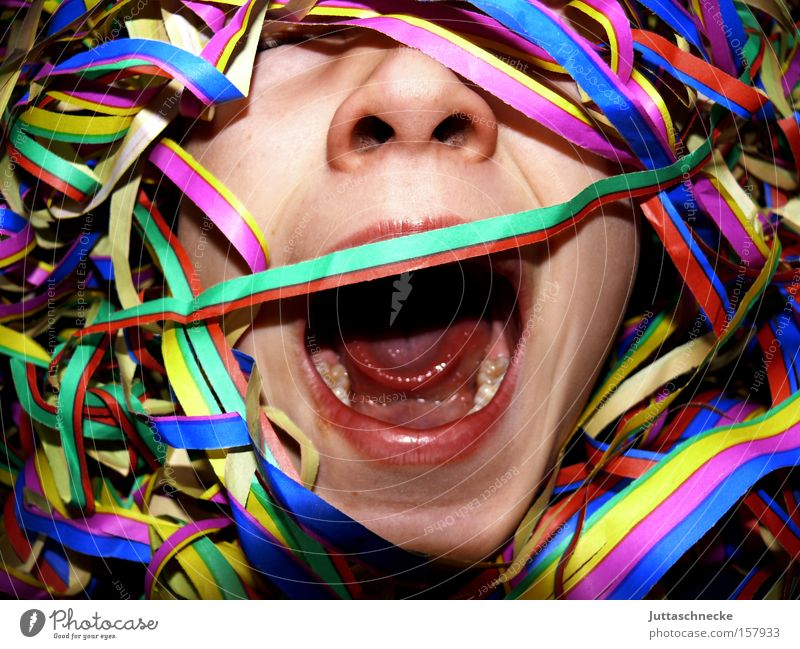 Child Party Mouth Feasts & Celebrations Nose Carnival Scream Hide Cry for help Concealed Confetti Paper streamers
