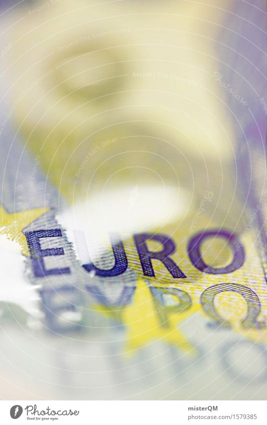 Liquidated euro Art Work of art Esthetic Euro Europe European Euro symbol Europe Day Euro bill Bank note Money Financial Industry Financial Crisis Capitalism