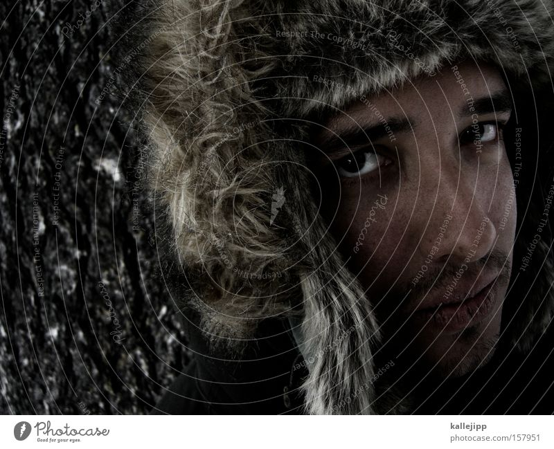 fargo Baseball cap Cold Winter Man Human being Face Portrait photograph Eyes Looking Tree bark Facial hair Chin Siberia fur cap