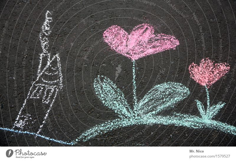 Plant Flower Red House (Residential Structure) Joy Street Spring Playing Garden Pink Dream Infancy Creativity Blossoming Painting (action, artwork) Asphalt