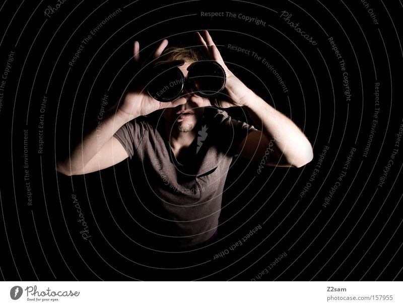 transparency Telescope Looking Vista Portrait photograph Man Glittering Style Preview Human being Shadow Light clean