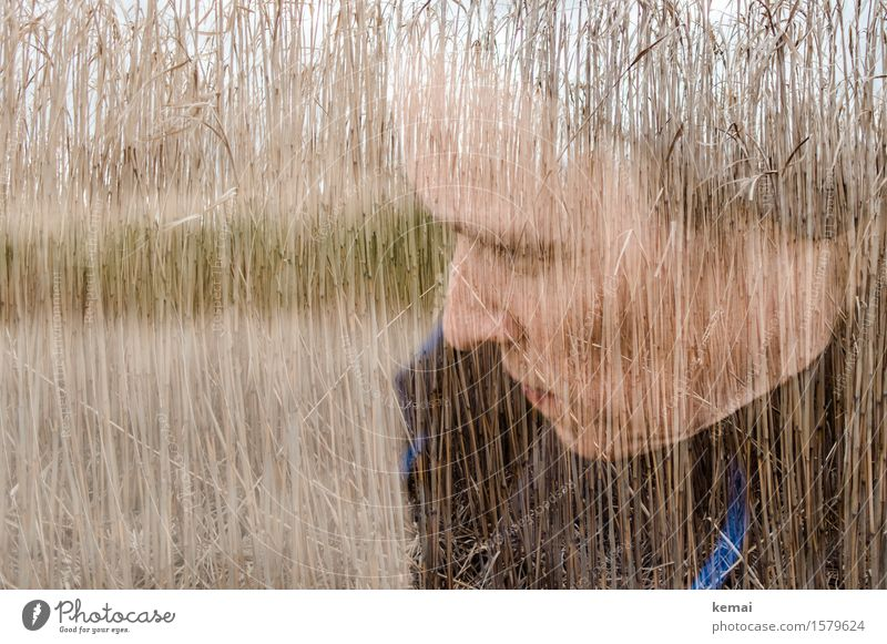 Self-Portrait Straw in the Head Human being Feminine Woman Adults Life Face 1 30 - 45 years Environment Agricultural crop Field Think Looking Dream Serene Calm