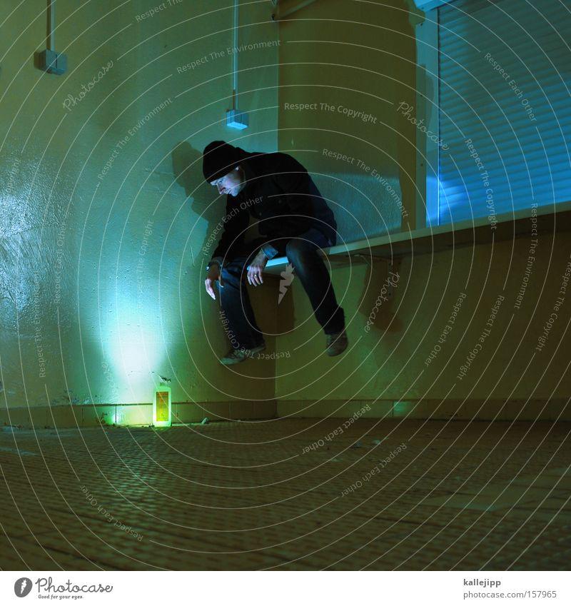 Human being Man Green Colour Lamp Dye Lighting Sit Bottle Wooden board Crouch Joist Detergent