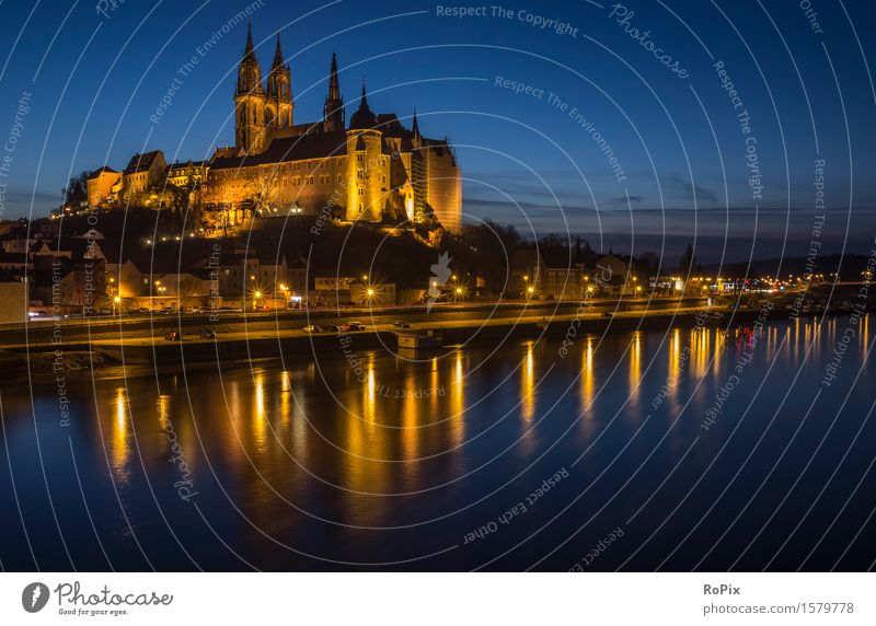 Albrechtsburg Castle in Meissen Tourism Trip Sightseeing City trip Art Museum Architecture Culture Environment Landscape Water Sky Night sky Beautiful weather