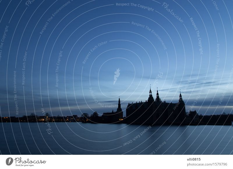 Silhouette of Frederiksborg Castle, Denmark Vacation & Travel City Tourism Europe Dusk Sightseeing Ancient Scandinavia King Palace Royal Domicile Renaissance