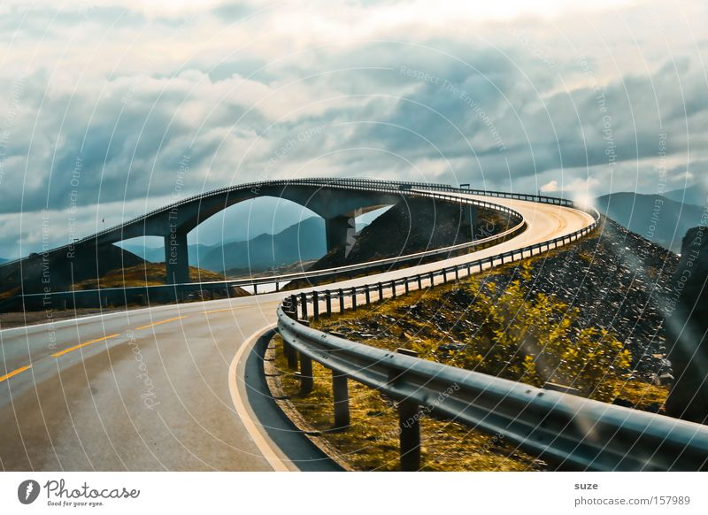Atlantic road Vacation & Travel Landscape Mountain Bridge Manmade structures Transport Traffic infrastructure Motoring Street Lanes & trails Driving Exceptional