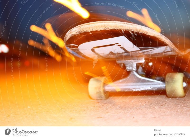 Rollin lights Colour photo Exterior shot Experimental Copy Space bottom Night Light Deep depth of field Leisure and hobbies Warmth Cold Skateboarding