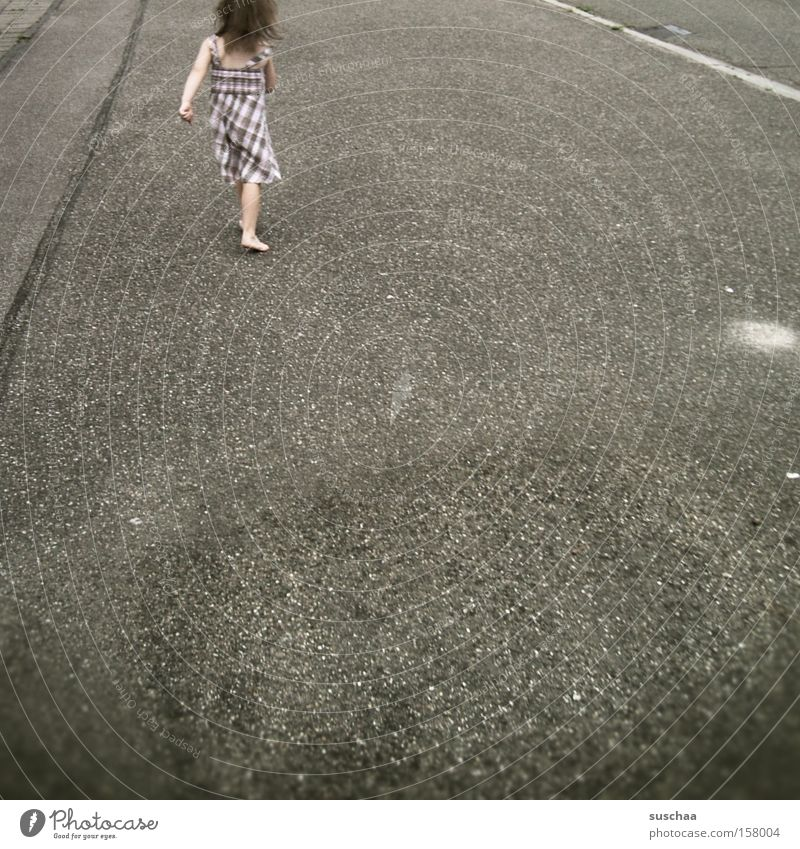 Child Girl Street Walking Asphalt Stride Single-minded Gait Walking speed