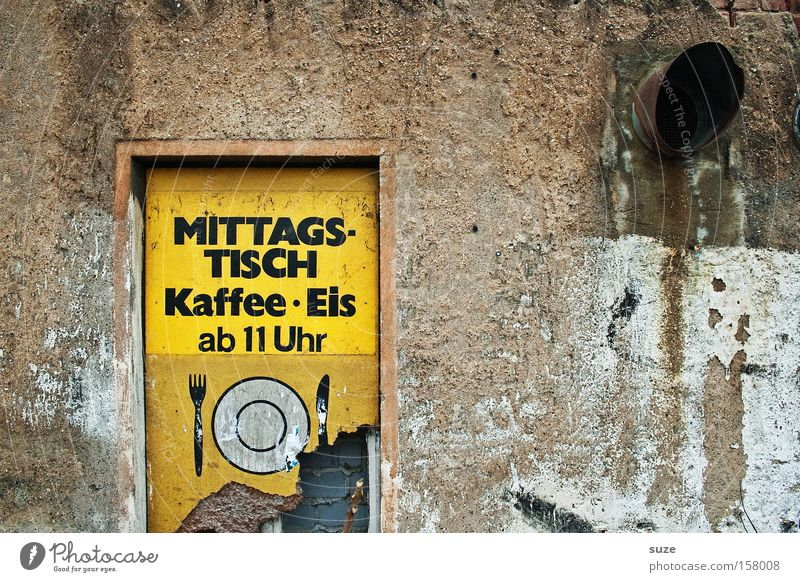 Old Yellow Wall (building) Wall (barrier) Brown Facade Dirty Signs and labeling Nutrition Signage Gloomy Coffee Dry Derelict Café Typography