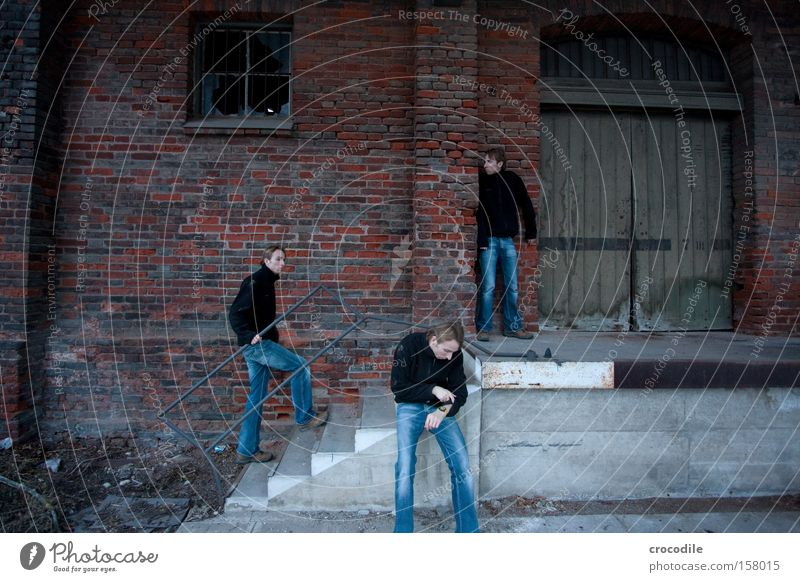 Man Loneliness Door Going Wait Stairs Dangerous Jeans Denim Hide Boredom Train station Warehouse Self portrait Image editing Scare