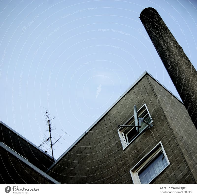 Cologne graphic. Chimney Electricity pylon House (Residential Structure) Prefab construction Antenna Satellite dish Window Drape Curtain Sky Blue Line Graphic