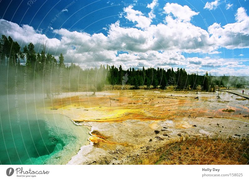 Nature Sky Clouds Colour Lake Park Force USA Hot Smoke Steam Source Volcano National Park Geothermy Geyser