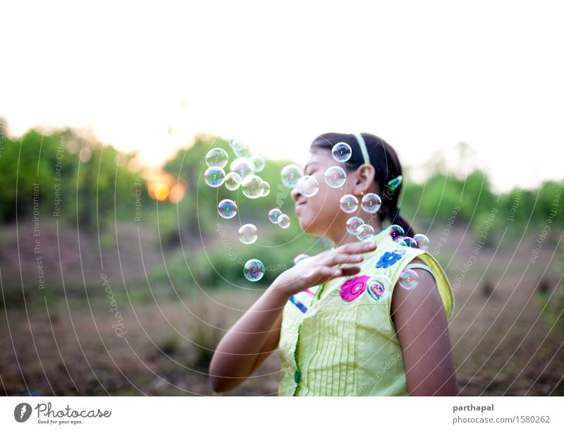 The Girl with bubbles Human being Child Nature Vacation & Travel Plant Green Beautiful Relaxation Landscape Joy Environment Yellow Spring Feminine Freedom Park