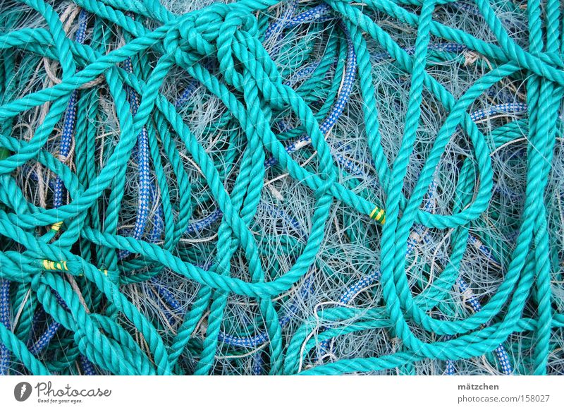 infinite loop Rope Loop Blue Fishing line Fishery Muddled Knot Gordian knot Net Fishing net Craft (trade) Harbour String