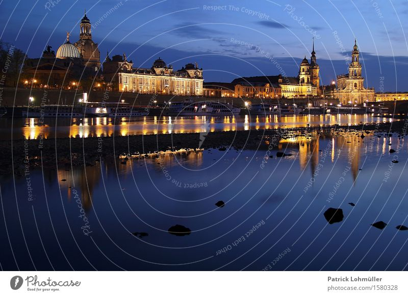 Blue hour in Dresden Tourism Sightseeing City trip Environment Landscape Water Sky Clouds Night sky River bank Elbufer Saxony Germany Europe Capital city