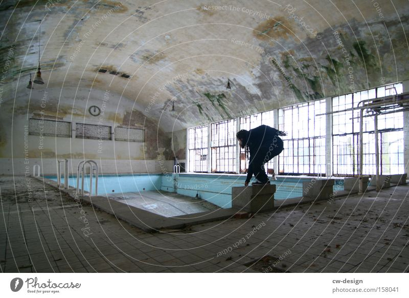 Human being Man Old Loneliness Sports Playing Architecture Masculine Empty Gloomy Swimming pool Posture Derelict Athletic Sportsperson