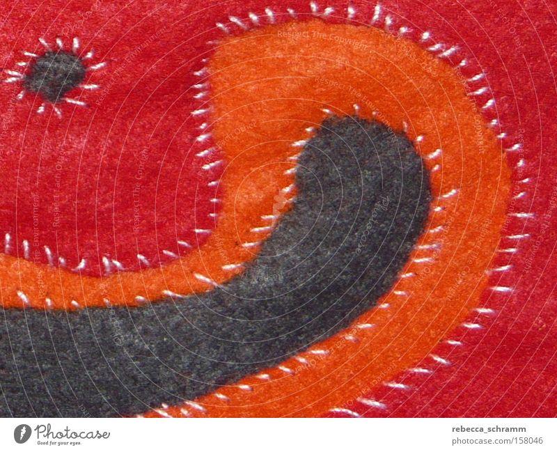 mola technique Felt Macro (Extreme close-up) Textiles Orange Red Sewing Pattern Craft (trade) Clothing Art Culture Molakana kuna capstan stitch