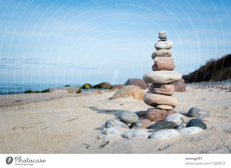 immigrant Landscape Sand Air Water Sky Horizon Spring Summer Autumn Beautiful weather Coast Beach Baltic Sea Stone Tall Maritime Blue Brown Gray White