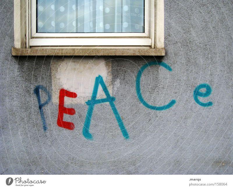 P E A C e Colour photo Exterior shot Long shot Style Harmonious Facade Window Characters Graffiti Free Multicoloured Tolerant Wisdom Contentment Peace War