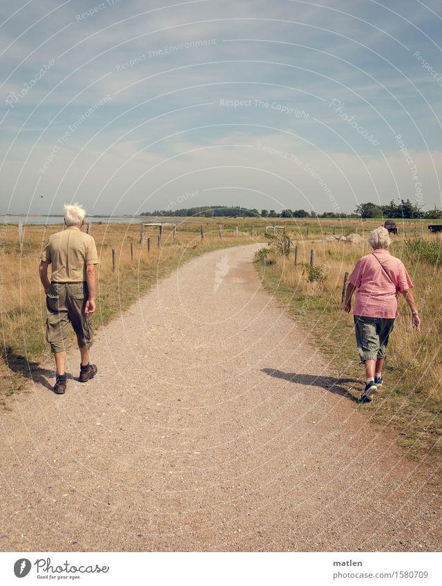 Human being Senior citizen Lanes & trails Feminine Together Masculine Hiking 60 years and older Walking Back Partner Divide