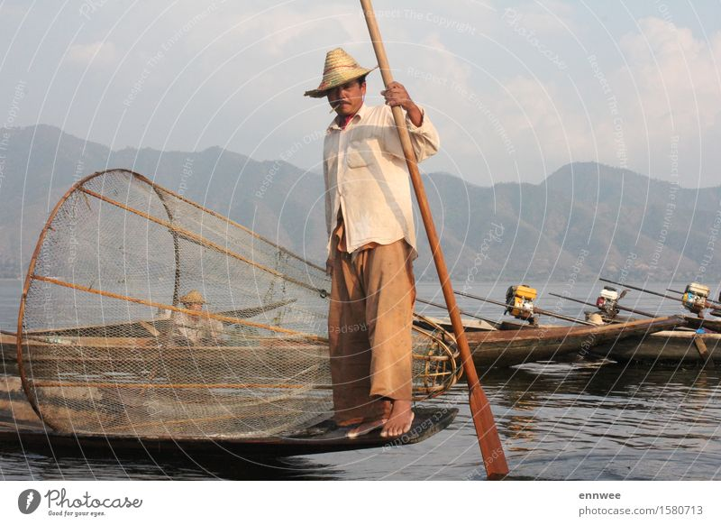 Fishermen at Lake Inle Human being Nature Man Water Clouds Mountain Adults Spring Natural Masculine Fresh Authentic Esthetic Uniqueness Hat