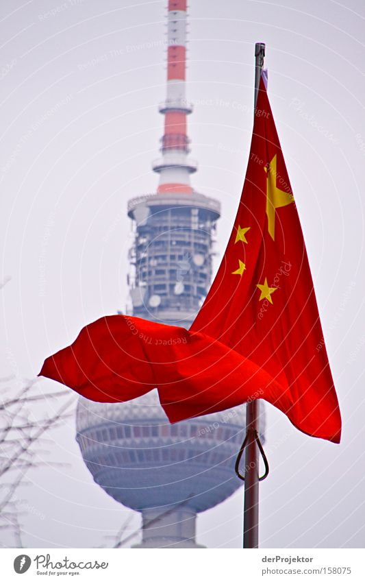 Sky Red Winter Colour Cold Berlin Architecture Star (Symbol) Flag Tower Information Middle China Electricity pylon Berlin TV Tower