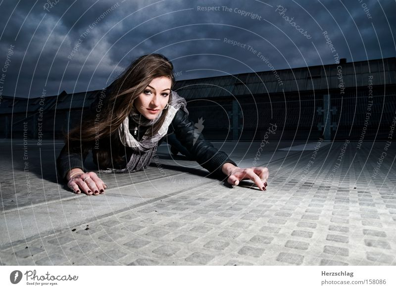 photographer hunt Woman Light Shadow Sky Concrete Cold Clouds Passion Hunting Photographer Photo shoot Crawl Contrast Communicate