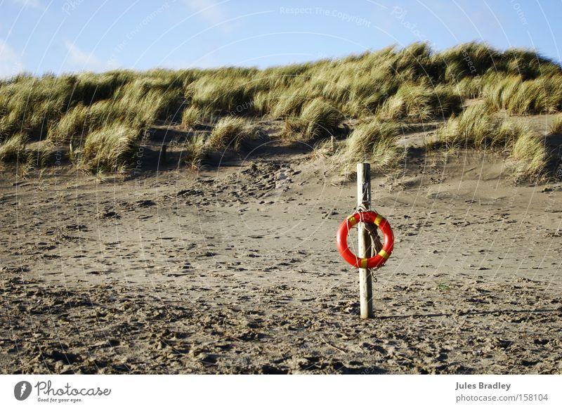 Wind, Sand & Dunes Landscape Beach Life belt Rescue Footprint Wild Loneliness Ireland Vacation & Travel Blue sky Sunlight Coast Earth Brittas Bay Beach dune