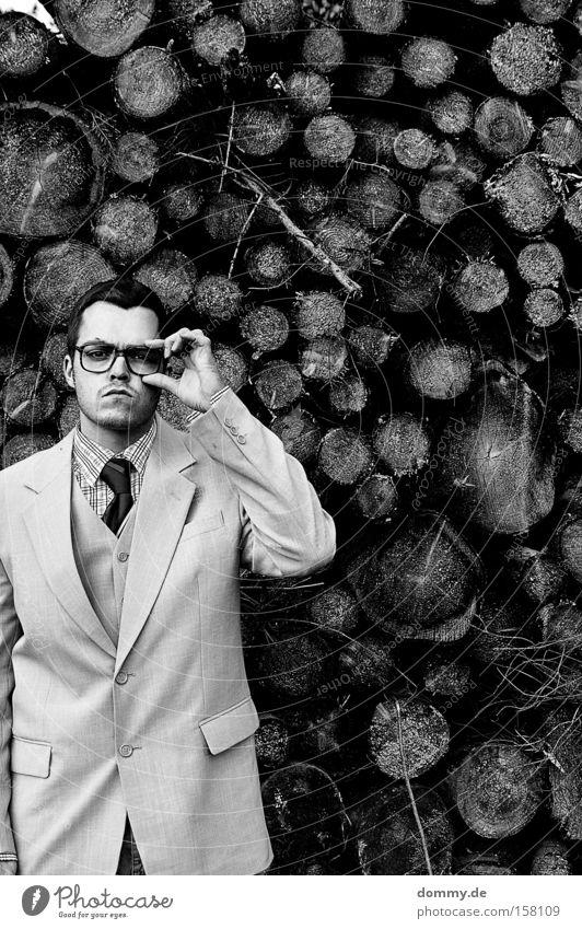 Man Wood Gloomy Eyeglasses Jacket Black & white photo Suit Stupid Tie Earnest Reliability Fellow Nerdy Doofus 30 - 45 years Person wearing glasses